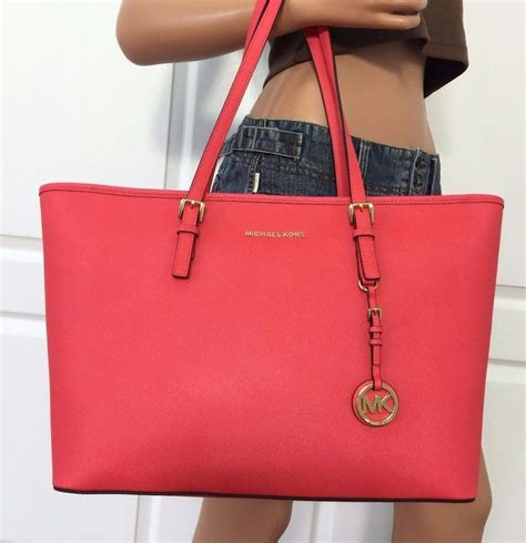 Michael Kors Coral Tote by Michael Kors Medium Jet Set Travel Multifunction Saffiano