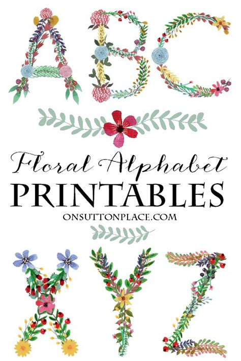 printable letters with flowers a to z floral alphabet printables