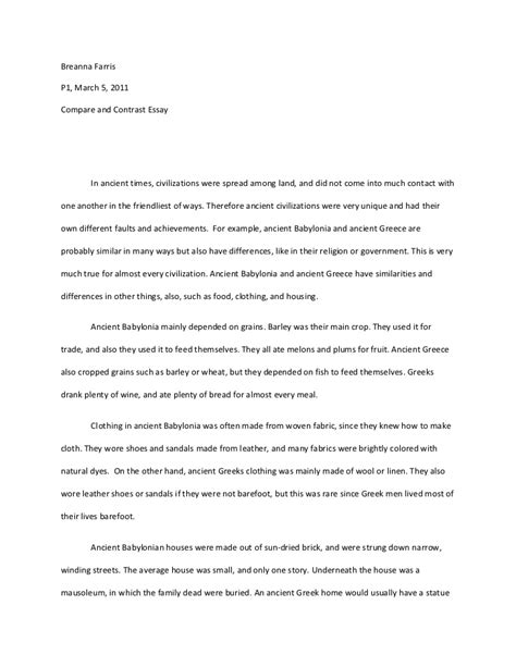 Comparison And Contrast Essay Ideas compare contrast essay