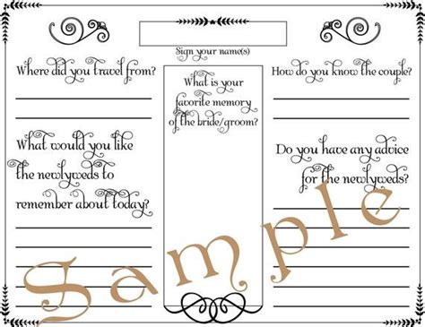 diy wedding guest book template wedding guest book page formal pdf template 85 x by