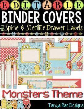 Editable Binder Covers Matching Sterilite Drawer Desk Labels Monsters Teaching Ideas Sterilite Drawer Label Template