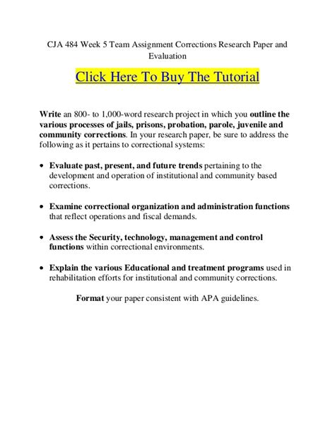 corrections topics research papers cja 484 week 5 team assignment corrections research paper