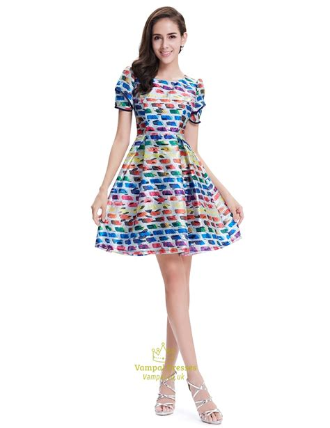 Summer Flare Dress multicolored summer fit and flare skater dresses with