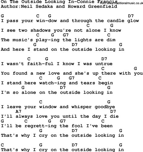 On The Patio Lyrics by Country On The Outside Looking In Connie Francis