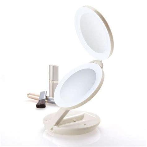 where can i find a lighted makeup mirror lighted travel makeup mirrors at brookstone buy now