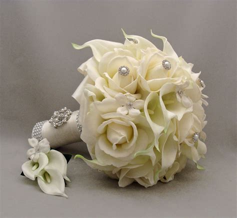 silk flower bridal bouquet stephanotis real by
