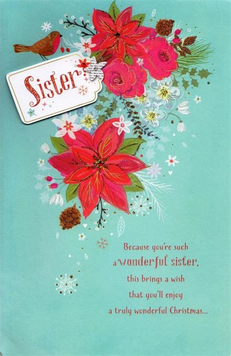 sister traditional christmas greeting card cards