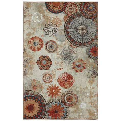 Printed Area Rugs Mohawk Home 5 Ft X 8 Ft Medallion Outdoor Printed Patio Area Rug In Brown The Home