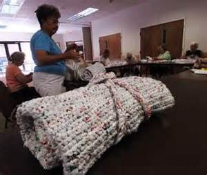 transforming plastic bags into sleeping mats for the