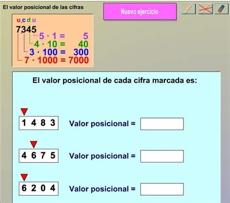 ejercicios de valor posicional para imprimir el valor posicional de las cifras recurso educativo