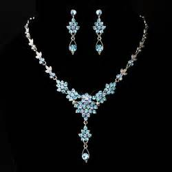Crystal Chandelier Necklace Stress Away Bridal Jewelry Boutique Silver Aqua Blue Drop