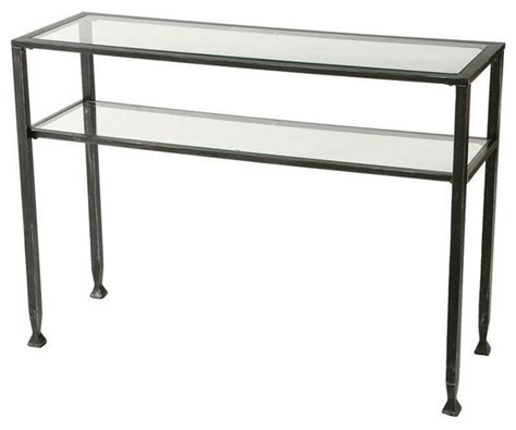Black Metal Frame Sofa Table With Clear Tempered Glass Top Glass Top Sofa Table Metal