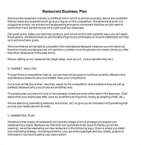 business plan template restaurant business plan template 6 free