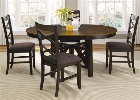 Casual Dining Table Set Bistro Two Tone Oval Casual Dining Furniture Set