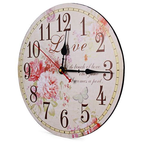 flower print vintage wooden decorative wall clock free