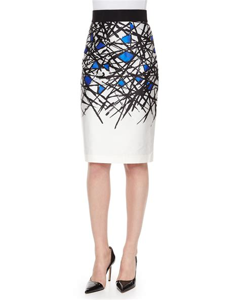 milly abstract print pencil skirt in blue lyst