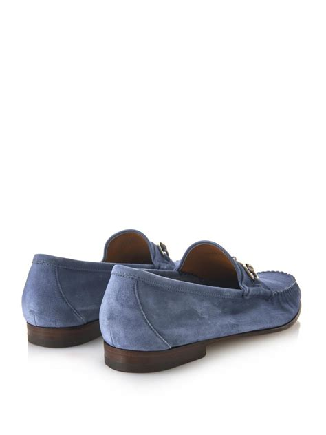 light blue suede heels lyst gucci roos suede loafers in blue for men