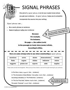 Signal Phrases: Printable Reference for Citing Evidence by