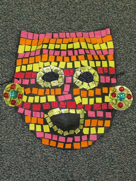 mayan crafts for 3rd grade paper mache mosaic ancient mayan mask lesson by