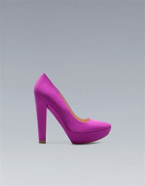 zara high heel platform court shoe in purple fuschia lyst