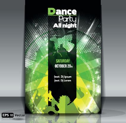 dance party flyer cover template vector free vector in