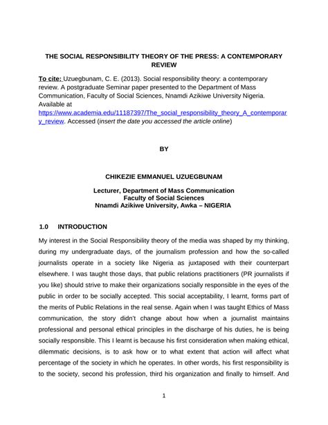 the contemporary review the social responsibility theory of the press a