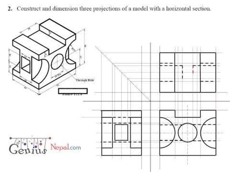 sectional orthographic engineering drawing tutorials orthographic drawing