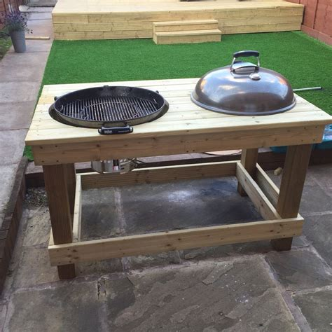 weber kettle grill table plans 57 quot weber table mod not quite complete charcoal
