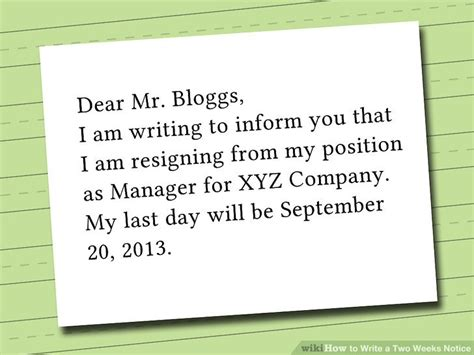 How To Write A Two Weeks Notice Letter