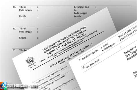 Contoh Sppd Perjalanan Dinas by Contoh Surat Perjalanan Dinas Sppd Sekolah File