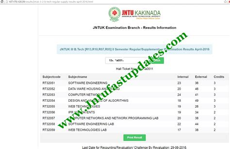 Mba 2014 Results Jntuk by Jntuk 3 2 Results 2016 R13 R10 R07 R05 B Tech Regular Supply