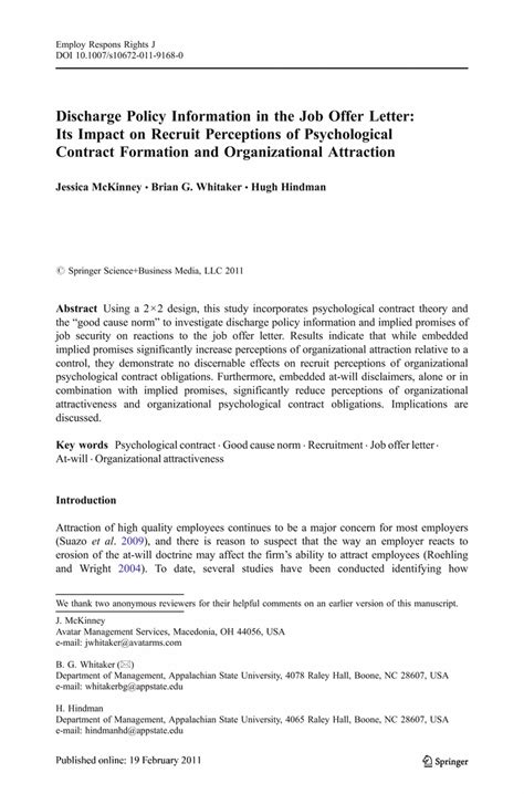 Offer Letter Employment Contract Discharge Policy Information In The Offer Letter Its Impact On Recruit Perceptions Of