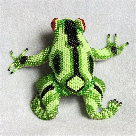 beaded frog green and black frog beaded figurine made in guatemala