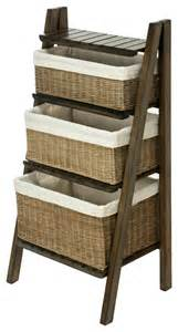 wicker baskets for shelves ladder shelf with wicker baskets contemporary display