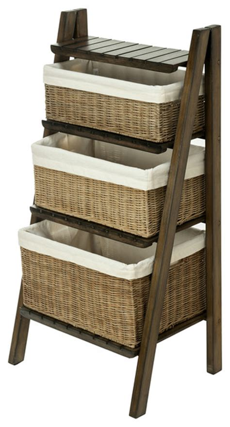 ladder shelf with wicker baskets contemporary display