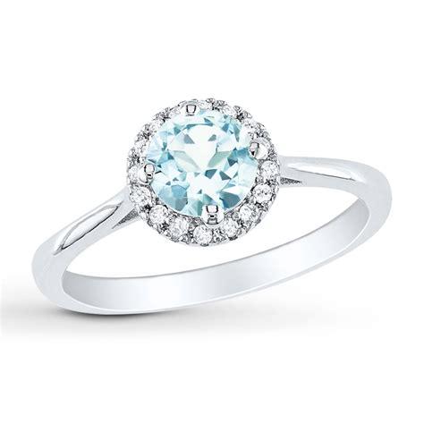 jared aquamarine ring 1 15 ct tw diamonds sterling silver