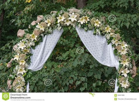 Wedding Archway by Wedding Archway With Flowers Arranged In Park For A