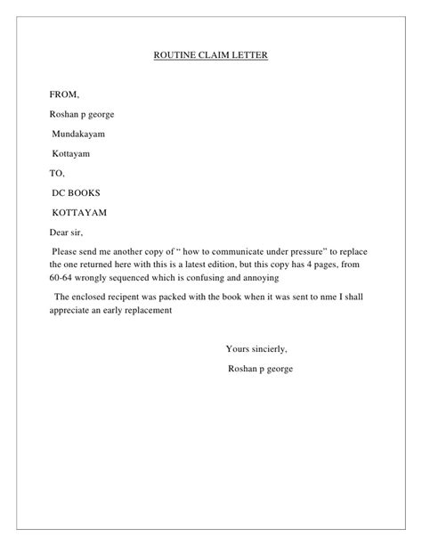 Business Letter Exle Claim Business Letter Format About A Claim Sle Business Letter