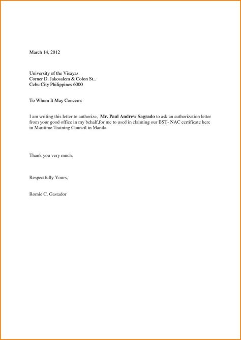sample authorization letter template act behalf