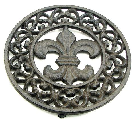 beautiful set of 2 fleur de lis cast iron trivet kitchen