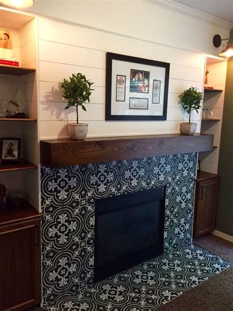 get this encaustic tile look with our twenties classic plank wall fireplace modern rustic fireplace encaustic