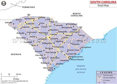 south carolina on map of usa south carolina road map highway map of sc