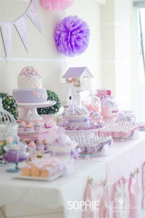 purple pink theme bridal wedding shower party ideas pink lilac purple butterfly flowers girl baby shower