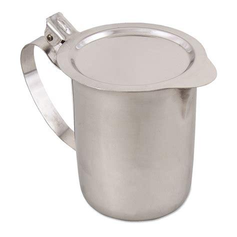 Creamer Jug Stainless Steel 90 Ml 3 Oz browne foodservice s3202 teapot creamer stackable w hinged flat recessed lid
