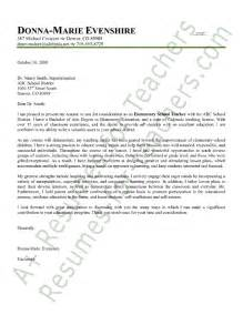 Cover Letter For Teaching Position by Elementary Cover Letter Sle Employment