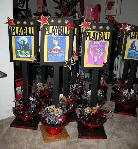broadway themed decorations playbill centerpiece centros de mesa broadway