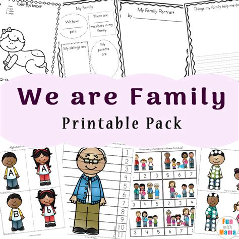 play full version kindergarten free family theme preschool and family worksheets for