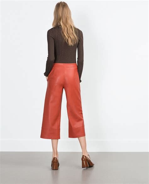 zara synthetic leather trousers with zara faux leather trousers faux leather trousers in brick lyst