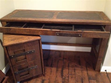 wood desk and file cabinet steel top desk and file cabinet handmade by toddmanringdesigns