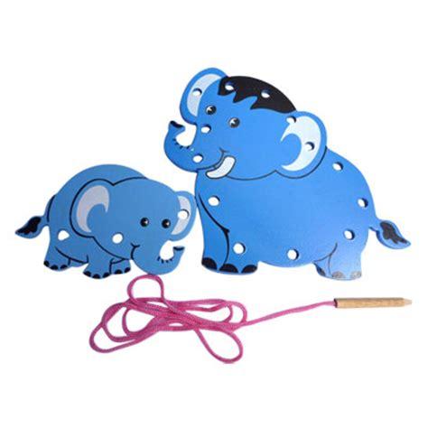 Papan Jahit Hewan 8 Bentuk papan jahit kayu 3 dimensi gajah mainan eduka